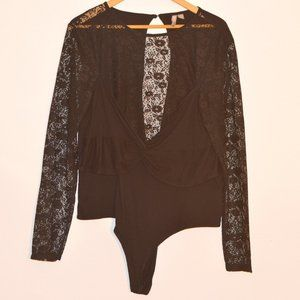 ASOS Black Bodysuit with Lace Sleeves